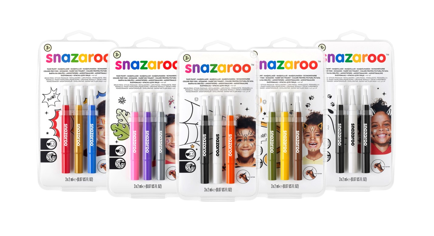 ... Snazaroo Brush Pens is that it uses a twist-action design, like  concealer, allowing the paint to be delivered to the brush tip in  controllable amounts, ...